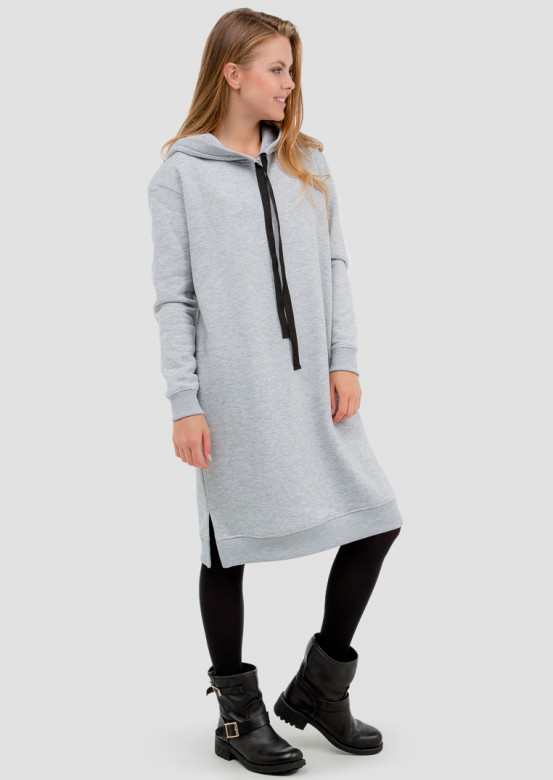 Light grey melange footer sweatshirt-dress