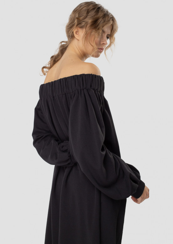 Black dress with colored shoulders
