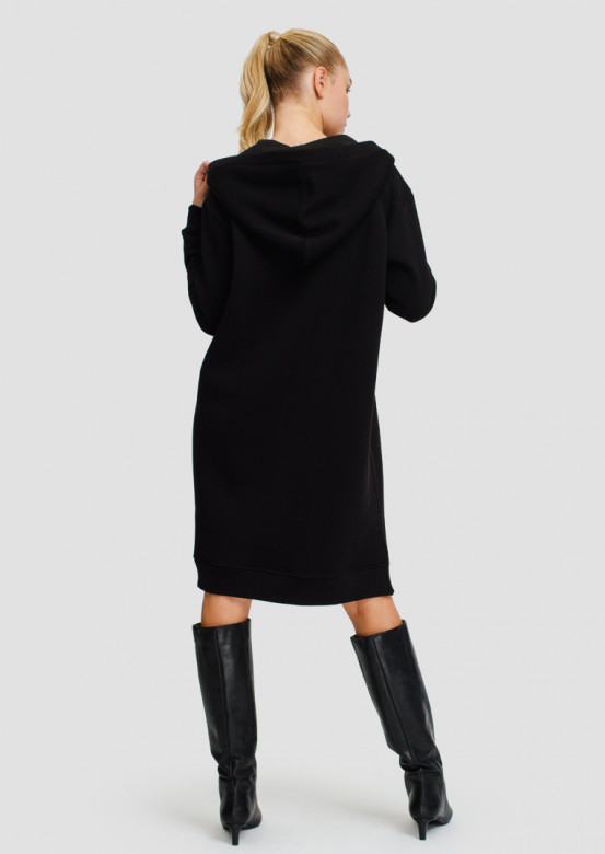 Black footer sweatshirt-dress
