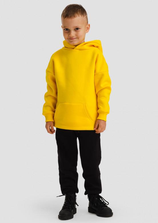 Yellow kids footer hoodie