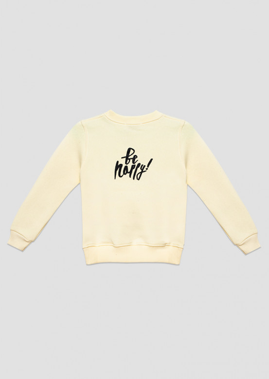 """Champagne kids  footer sweatshirt """"Don't worry/Be happy"""""""