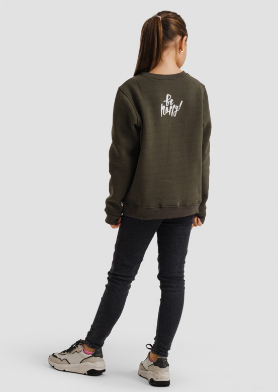 "Khaki kids footer sweatshirt ""Don't worry/Be happy"""