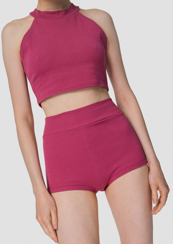 Tea rose high-waisted knickers shorts