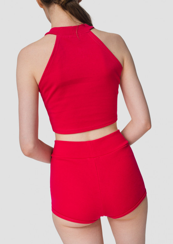 Crimson high-waisted knickers shorts