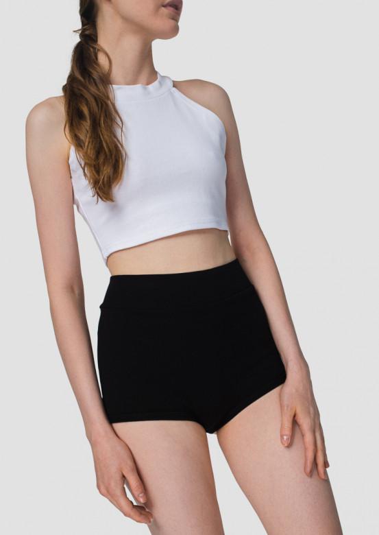 Black high-waisted knicker shorts