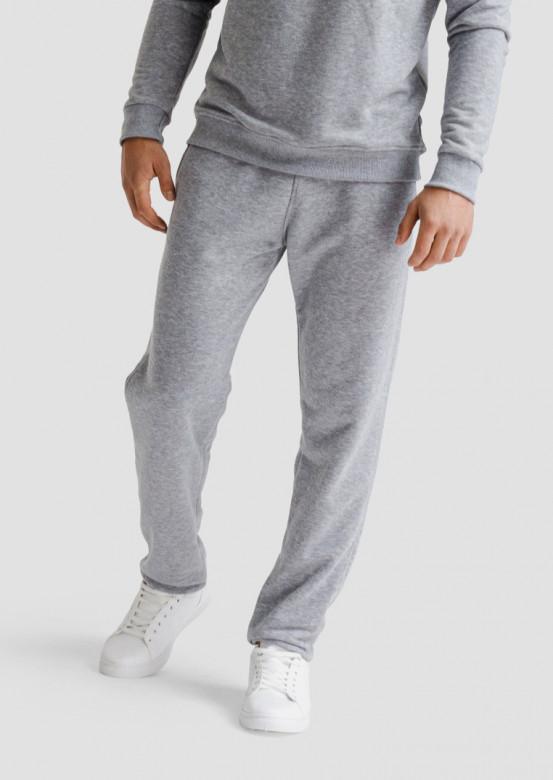 Light grey melange men three-thread trousers