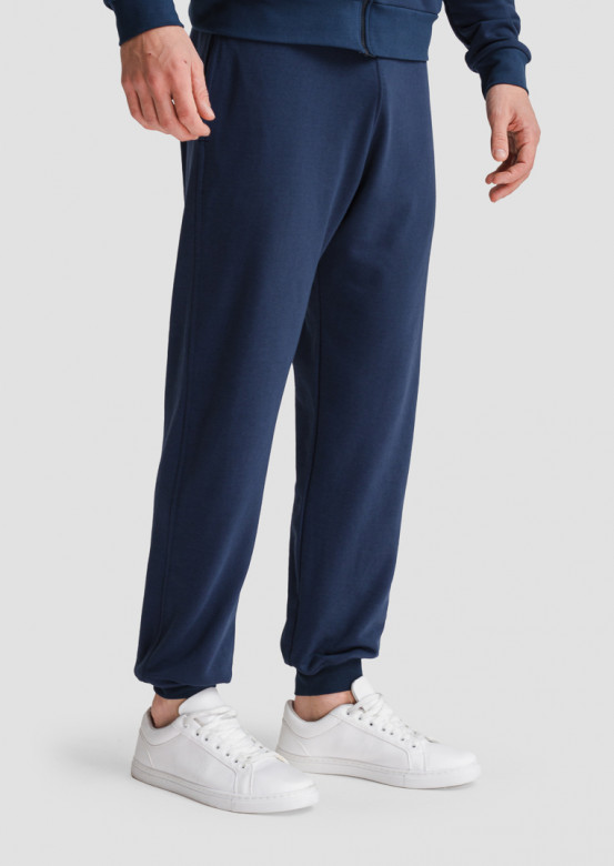 Dark blue men basic three-thread trousers