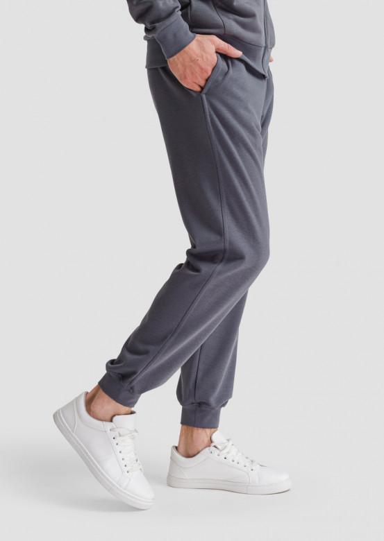 Grey men basic three-thread trousers