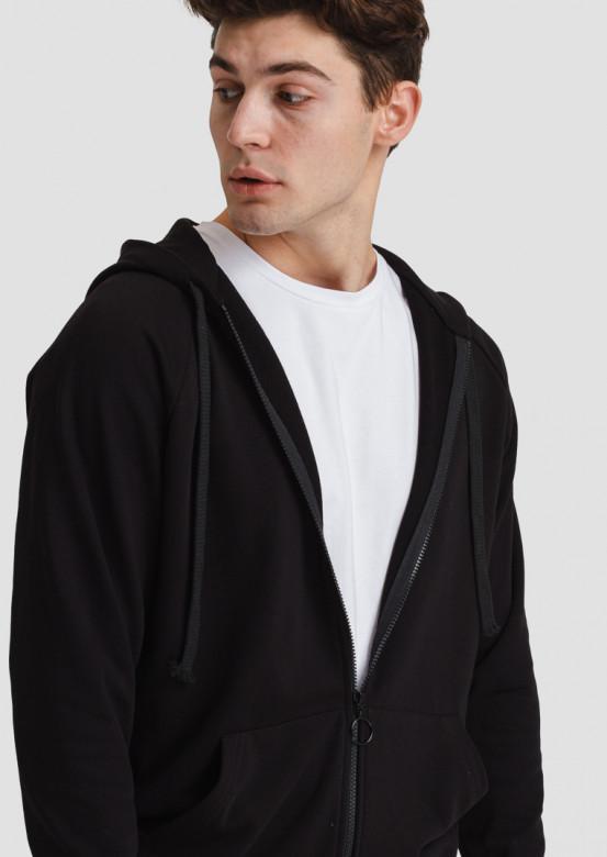 Black men's three-thread hoodie with zipper