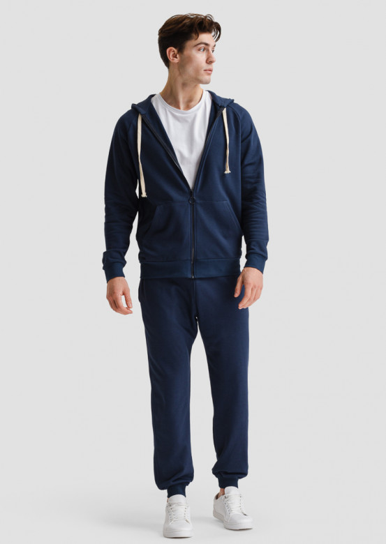 Dark blue men's three-thread hoodie with zipper