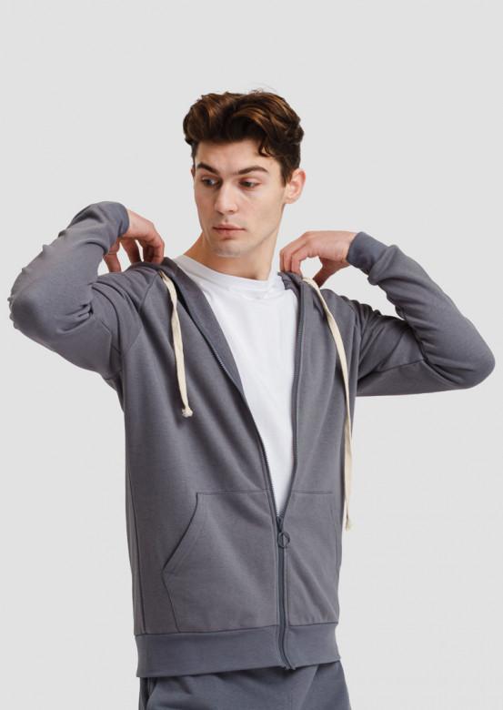 Grey men's three-thread hoodie with zipper