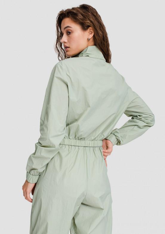 Olive raincoat fabric sport jacket