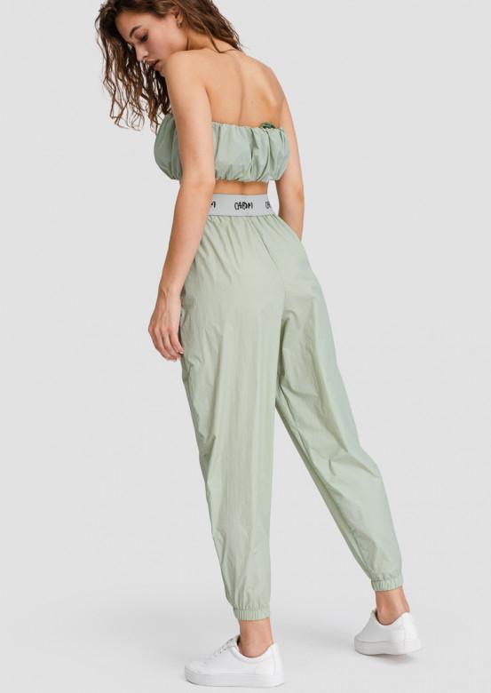 Olive raincoat fabric pants