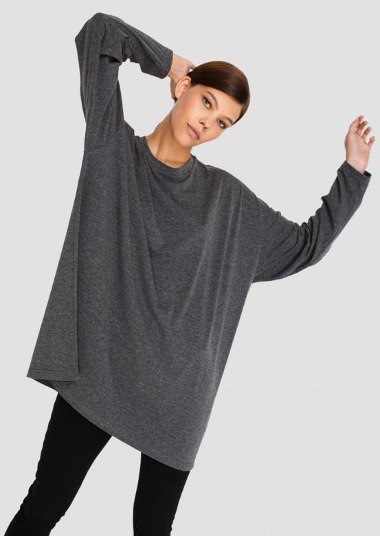 Dark melange mega oversize long sleeve top