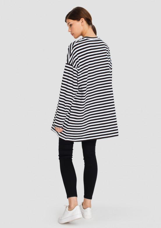 Striped mega oversize long sleeve top