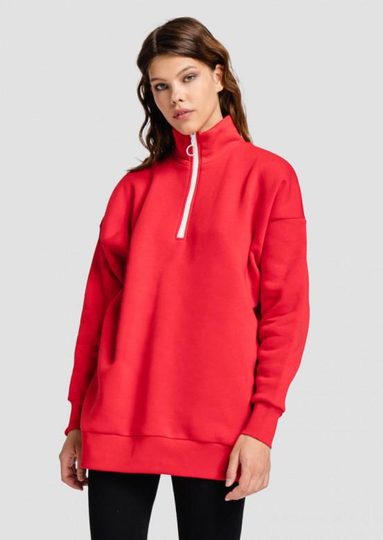 Red sweatshirt with zipper