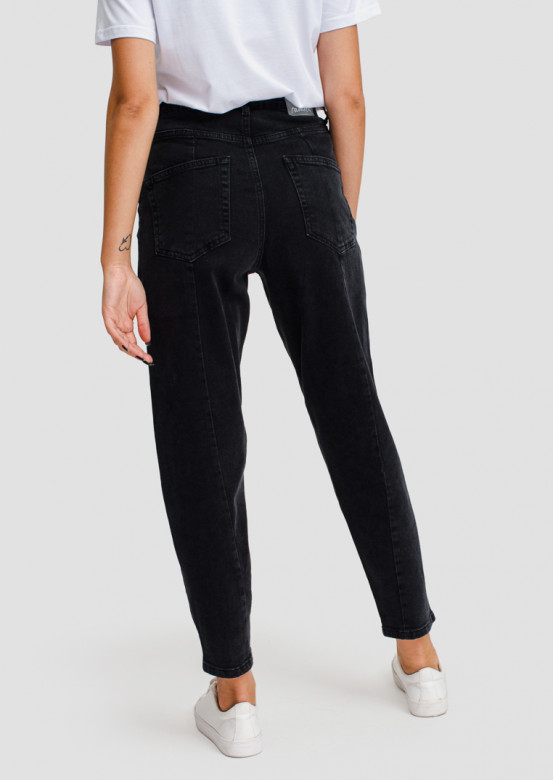 Dark grey high-waisted jeans with arrow