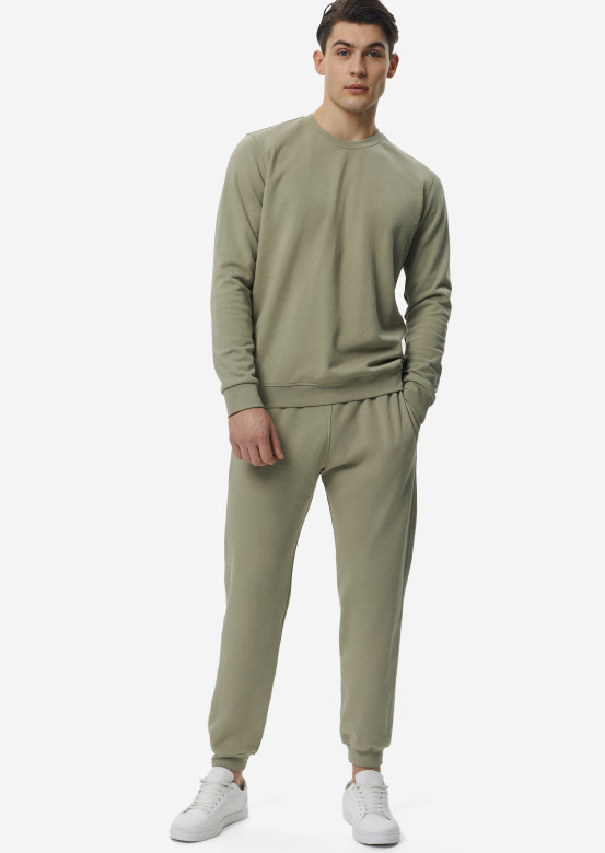 Light khaki men basic three-thread sweatshirt