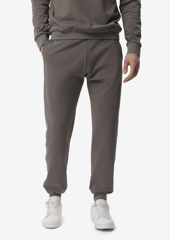 Light grey men basic three-thread trousers