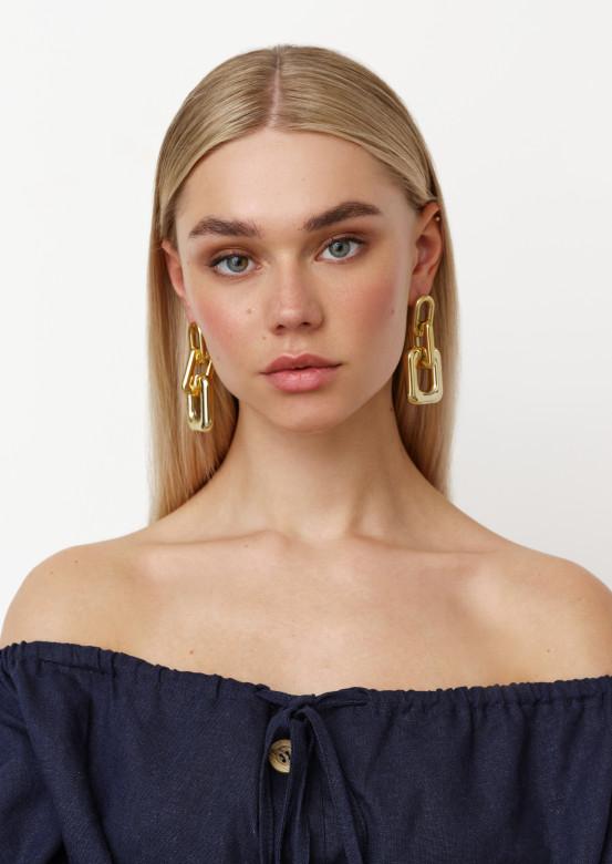 Golden massive earrings