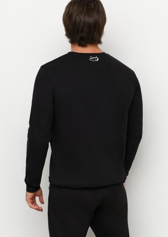 Black basic men footer sweatshirt