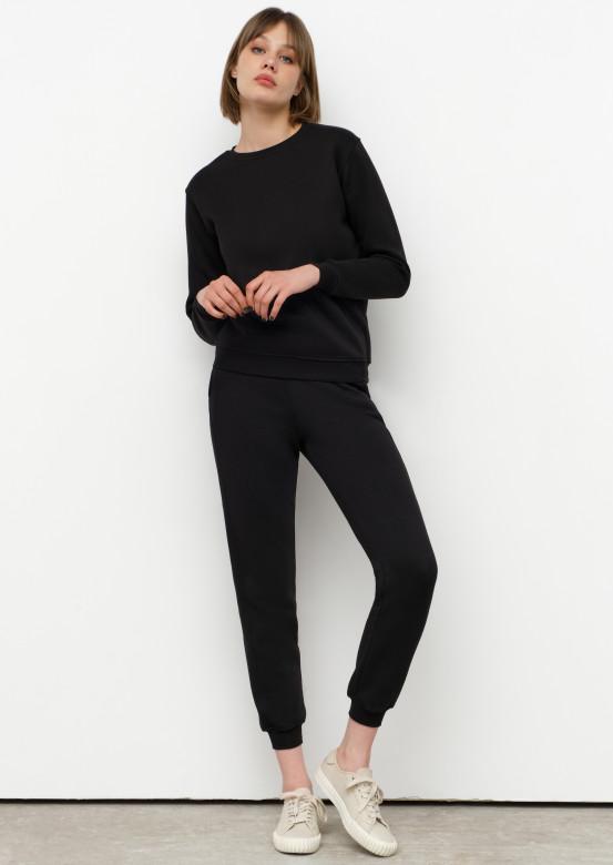 Black women basic footer trousers