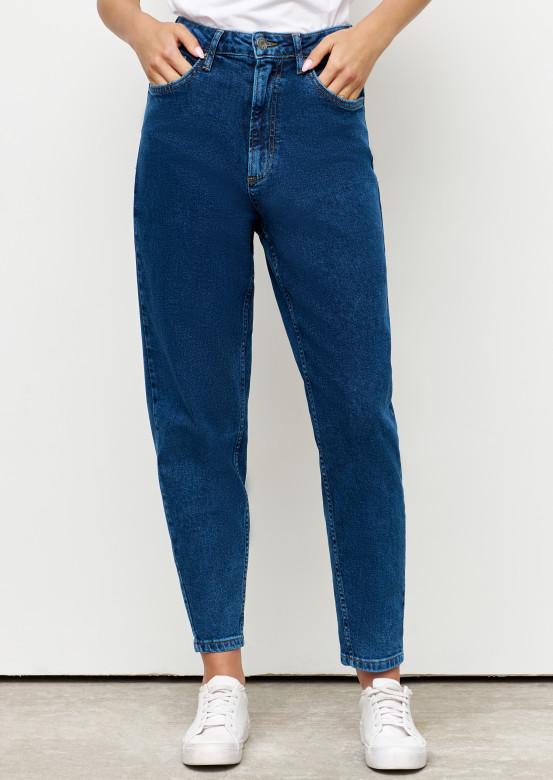 Dark blue high-waisted jeans with arrow