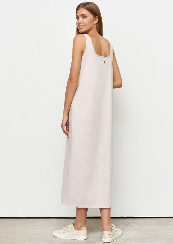 Beige melange colour dress with wide straps