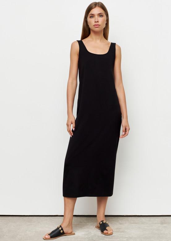 Black colour dress with wide straps