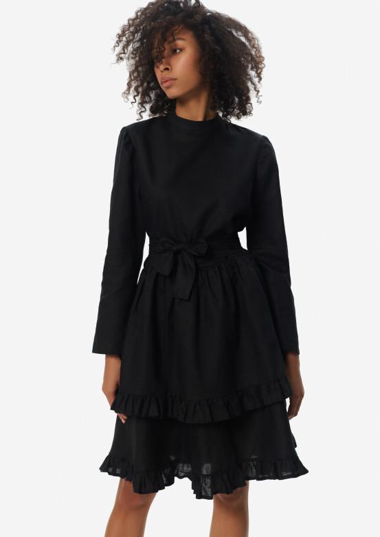 Black linen dress with asymmetric flounce