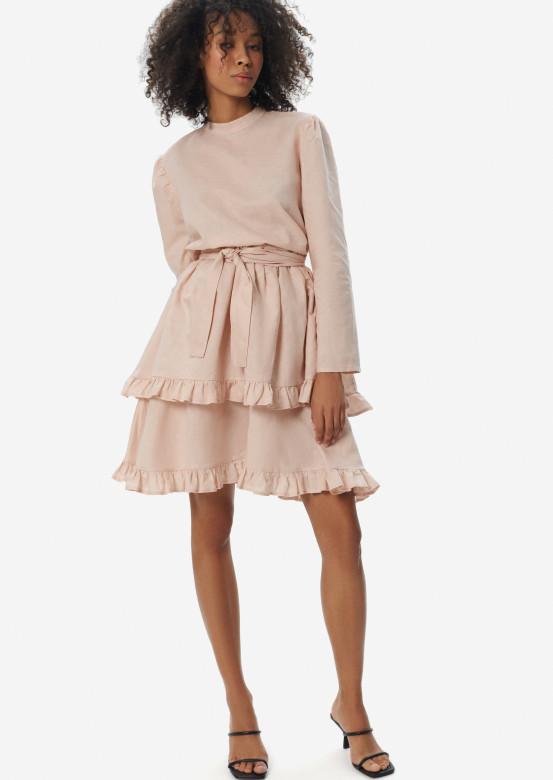 Pink linen dress with asymmetric flounce