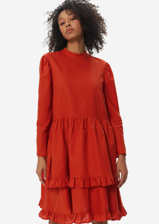 Terracotta colour linen dress with asymmetric flounce