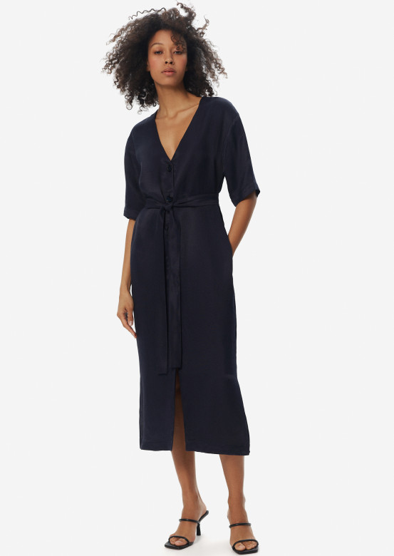 Linen dress with belt dark blue colour