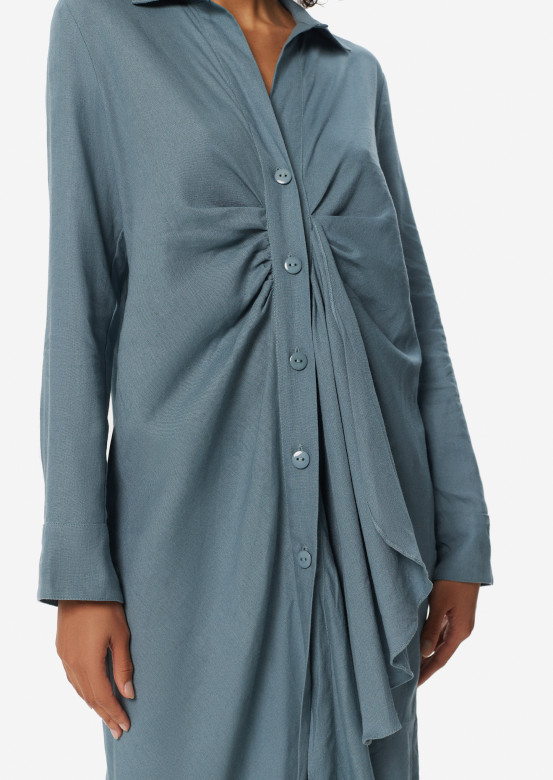 Grey-mint dress-shirt with knot