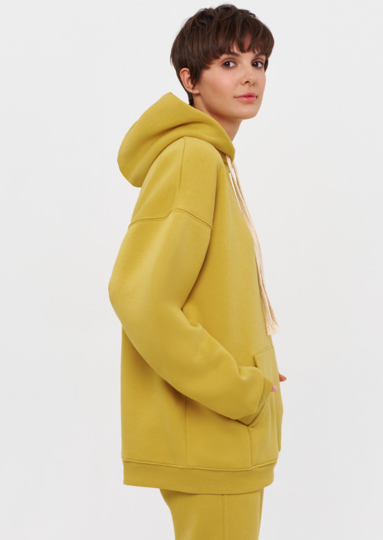 Oil Yellow colour footer hoodie