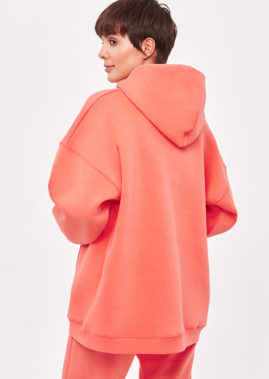 Living Coral colour footer hoodie