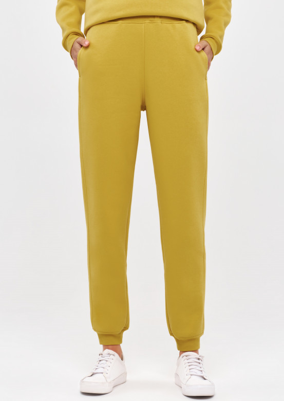 Oil Yellow colour women basic footer trousers