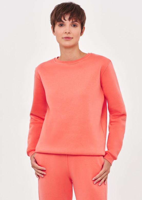 Living Coral colour women basic footer sweatshirt