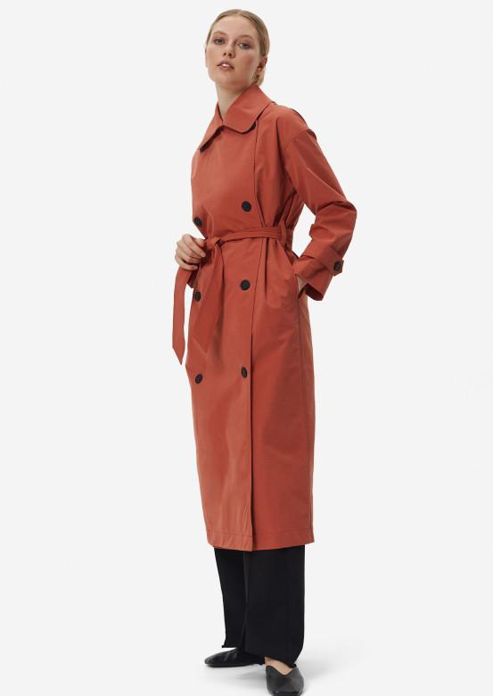 Terracotta colour trench coat