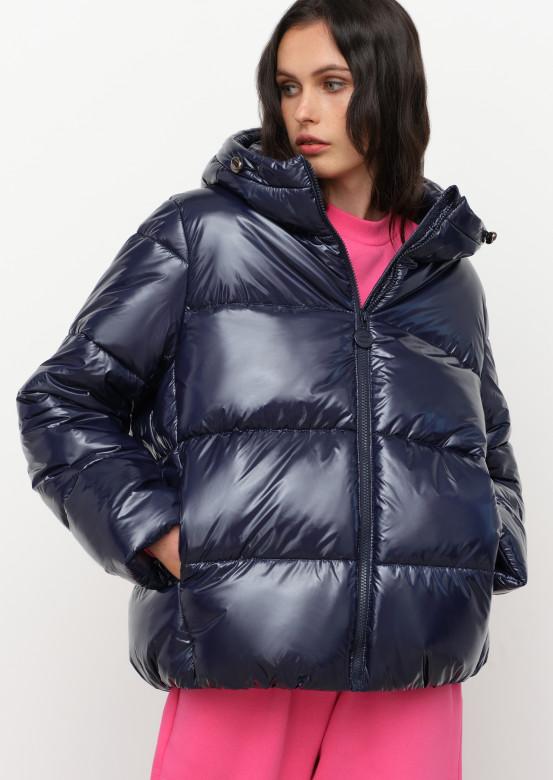 Blue short puffer coat with a hood