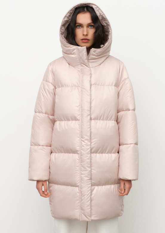 Grey long puffer coat with a hood