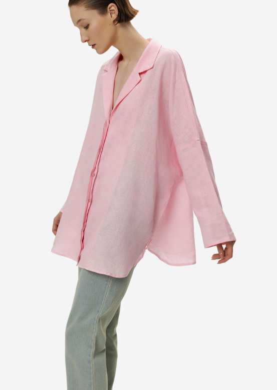 Pink women linen one size shirt