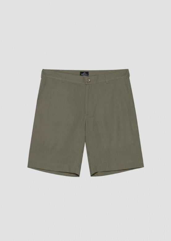 Khaki linen men linen shorts