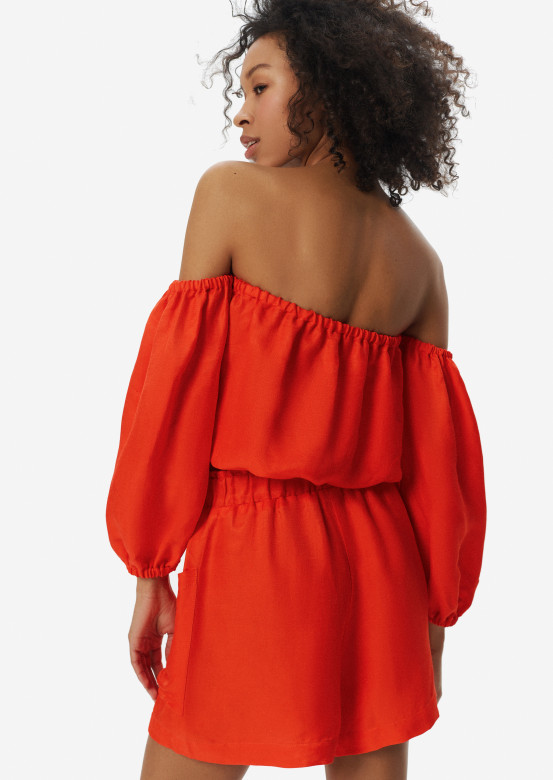 Linen elastic waist shorts orange colour