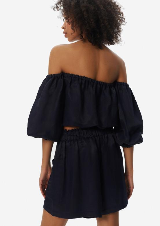Linen elastic waist shorts dark blue colour