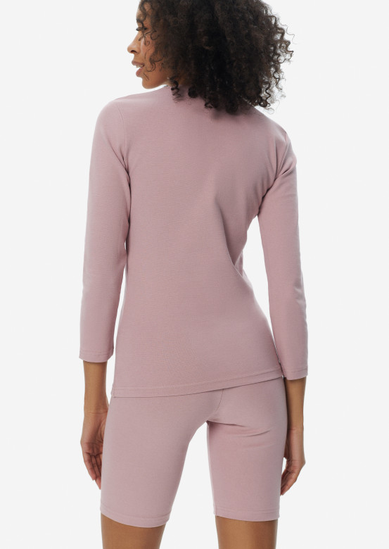 Powdery colour ribana suit with cycling shorts