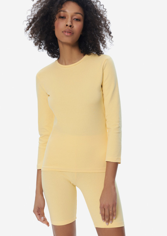 Yellow ribana suit with cycling shorts
