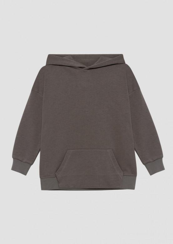 Light grey colour kids three-thread hoodie