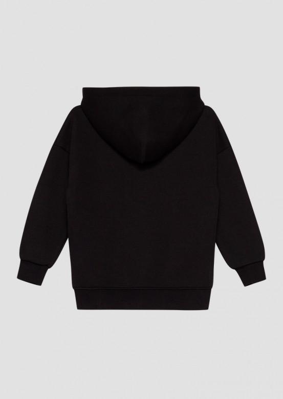 Black kids footer hoodie with a zipper