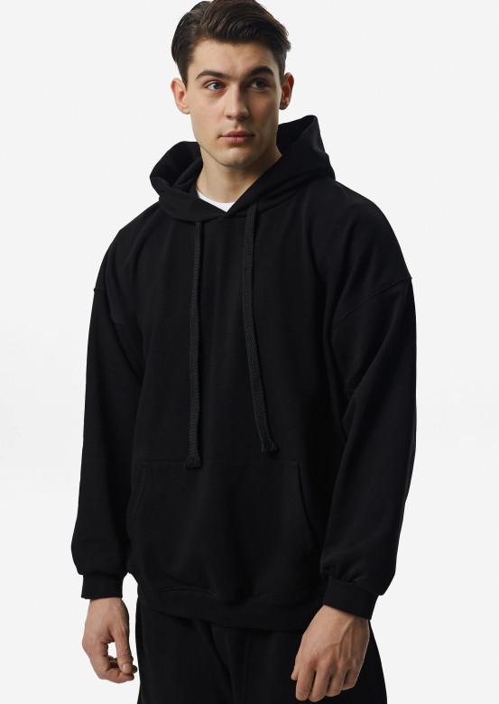 Black men three-thread hoodie